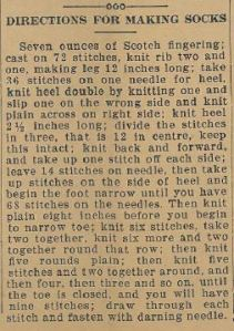 Directions for Making Socks, as appeared in the Ontario Reformer, Friday Sept 3, 1915, p5